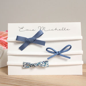 Denim Bow Hairband Trio - hair accessories