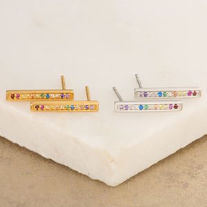 Sparkling Bar Stud Earrings - earrings