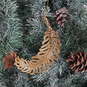Gold Glitter Feather Christmas Tree Decoration - tree decorations