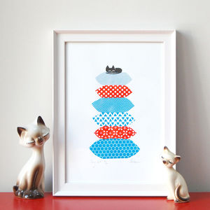 Cosy Cat Screen Print - posters & prints