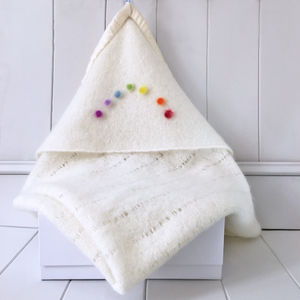 Personalised Cashmere Rainbow Hooded Blanket