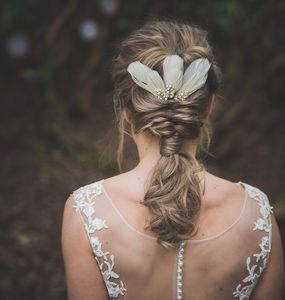 Bridal Feather Hair Pins Accessories - new in wedding styling
