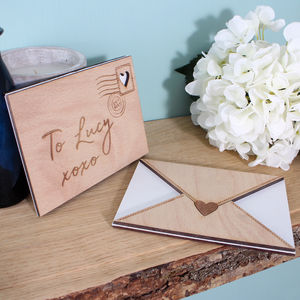 Engraved Wooden Love Letter
