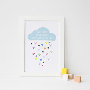 'When It Rains' Cloud Quote Print