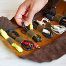 Personalised Handmade Buffalo Leather Cable Organiser
