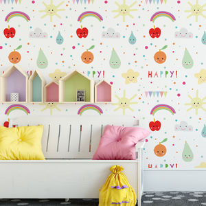 Children's Wallpaper 'Happy Fruit' Can Be Personalised - home decorating