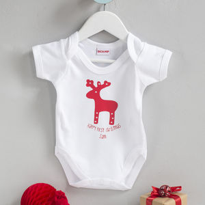 Personalised Christmas Babygrow Rudolph Design - baby's first christmas