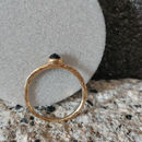 Hammered Gold And Black Sapphire Ring In Fairtrade Gold