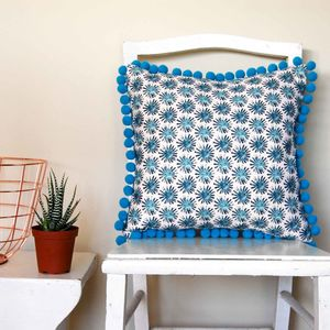 Black Dandelion Cushion With Turquoise Pom Poms