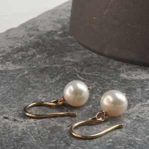 Freshwater Pearl Solid Gold Hook Earrings - earrings