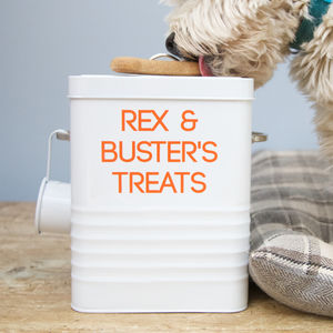 Personalised Dog Treat Storage Tin - dog food storage