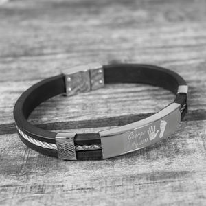 Daddy's Personalised Print Rubber And Steel Bracelet