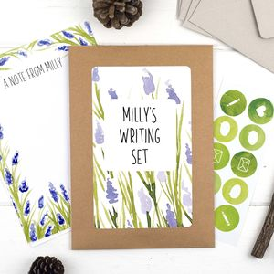 Personalised Lavender Illustrated Writing Set