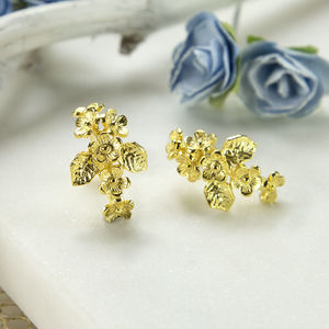 Gold Plated Forget Me Not Cluster Earrings