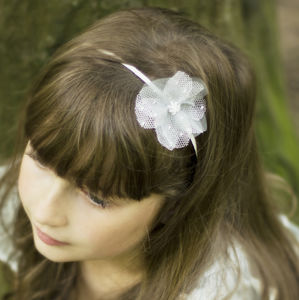 Ellie Beaded Tulle Silk Flower Hairband - wedding fashion