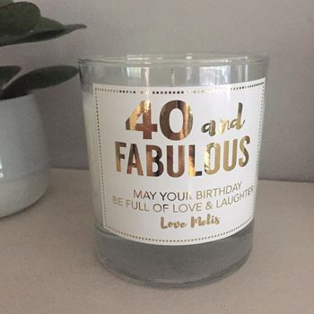 40 And Fabulous Prosecco Candle