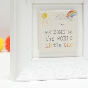 New Baby Welcome To The World Ceramic Tile Frame Gift