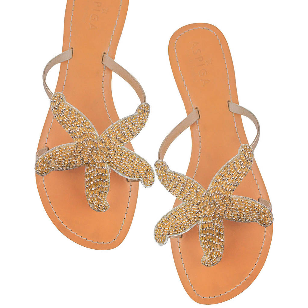36bd33d704212 gold starfish beaded flat leather sandals by aspiga ...