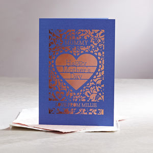 Personalised Papercut Mother's Day Card