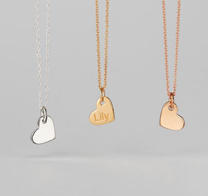 Personalised Engraved 18ct Gold Heart Pendant Necklace - wedding fashion