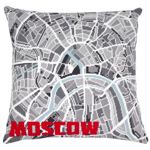 Contemporary Moscow City Map Tapestry Kit - living room