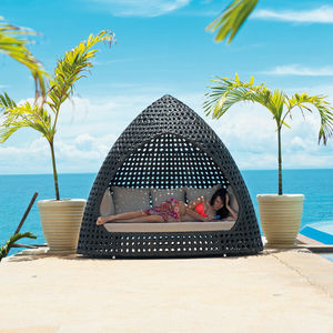 Ocean Wave Rattan Relax Hut With Cushion - garden furniture