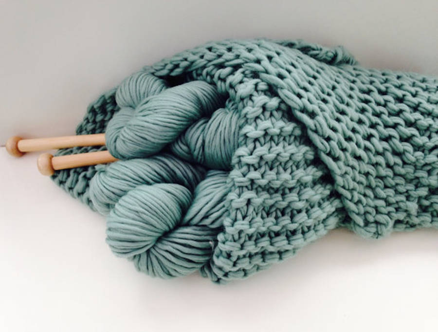 Knitting Diy Kits : Blanket knit kit super chunky diy giant throw by wool