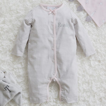 Personalised Pink And Grey Striped Sleepsuit