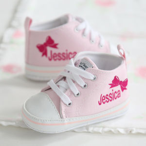 Personalised Bow High Tops - babies' shoes, sandals & boots