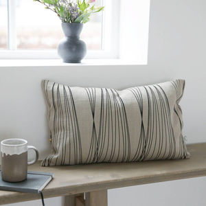 Grey And Black Print Rectangle Cushion - cushions