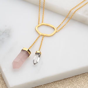 Double Drop Crystal Necklace - millennial pink