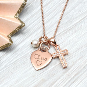 Personalised Petite Rose Gold Heart And Cross Necklace - naming day celebration gifts