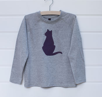Cat Applique Long Sleeve Top