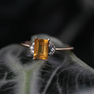 Citrine Ornamental Ring In Silver Or Gold