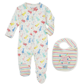 Easter Bunny Sleepsuit And Bib Baby Gift Set