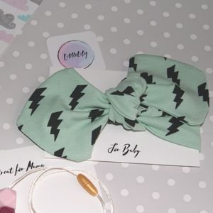Lightening Bolt Baby Headband Mint