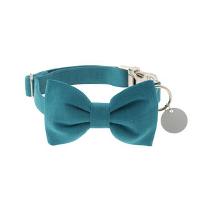 Peacock Blue Bow Tie Dog Collar - dog collars
