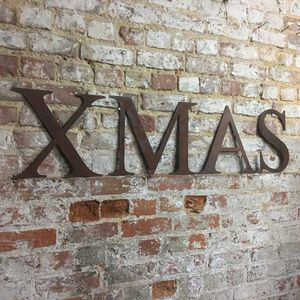 Rusted Xmas Christmas Decoration Letters Sign - home accessories