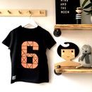 Kids Birthday Number Short Sleeve Black T Shirt