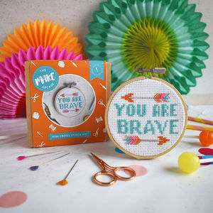 'You Are Brave' Mini Cross Stitch Craft Kit - sewing & knitting
