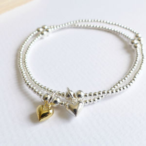 Sterling Silver Tiny Heart Beaded Bracelet - bracelets & bangles