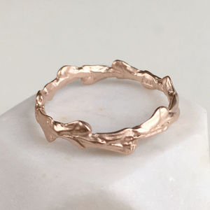 Cypress Leaf Band Ring - wedding rings