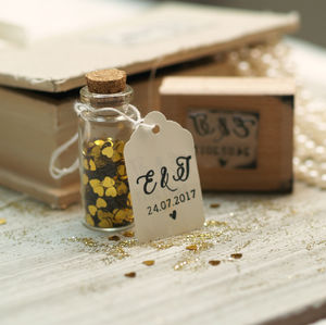 Initials Wedding Favour Rubber Stamp - ribbon & wrap