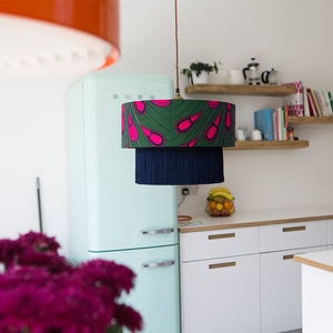 Peacock Feather African Pattern Lampshade - living room