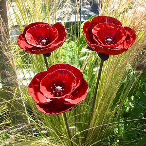 Set Of Three Garden Poppy Sculptures - new in garden