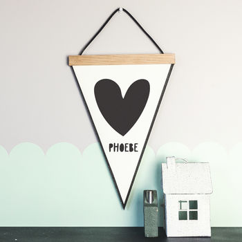 Love Heart Pennant Flag With Hanging Oak Frame