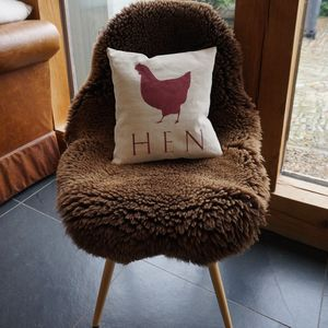 Hand Printed Hen Cushion - bedroom