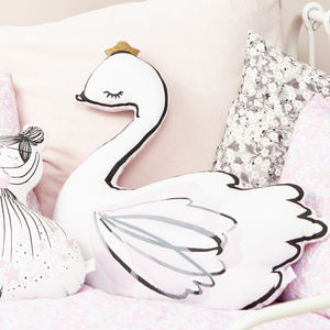 Swan Princess Pink Liberty Cushion - children's room