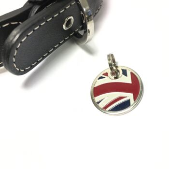 Union Jack Nickel Plated Dog Tag