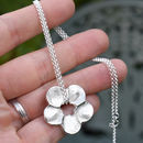 Silver Personalised Fingerprint Flower Necklace
